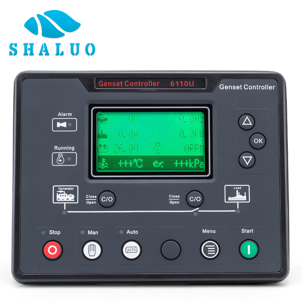 все цены на 6110U Genset controller ATS LCD control Auto start remote electronic lcd board diesel generator parts 8 languages monitor pannel онлайн