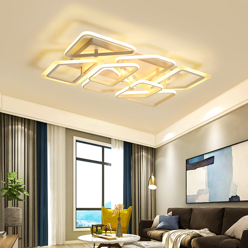 Ceiling Lights Square Circle Rings Chandelier For Living Room Bedroom Home Ac85-265v Modern Led Ceiling Chandelier Lamp Fixtures Free Shipping