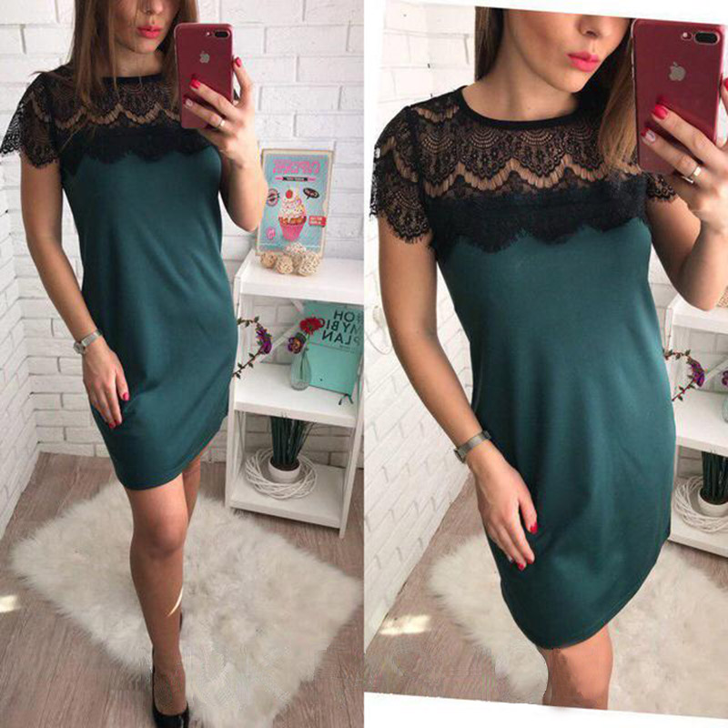 Fashion Lace Stitching Summer Dress Sexy Hollow Out Mini Dresses Woman 2018 O-neck Short Sleeve Patchwork Casual Straight Dress