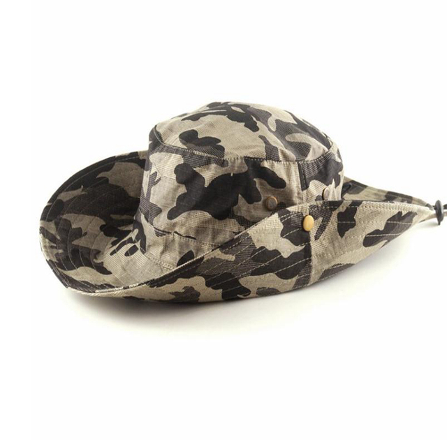 0069ac59b64 Camping Hiking Fishing Caps Tactical Bucket Hat Men Camo Bucket Cap Outdoor  Sports