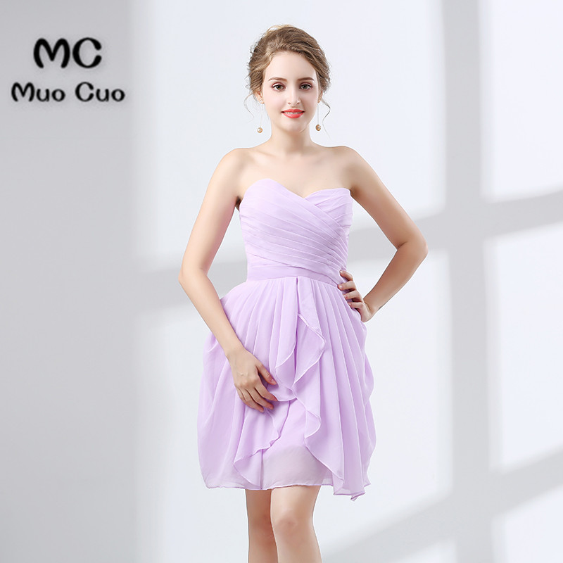 2018 Short   Bridesmaid     Dress   Maid of Honer Chiffon Wedding Party   Dress   Pleated Mini Lace Up Back Women's   Bridesmaid     Dress