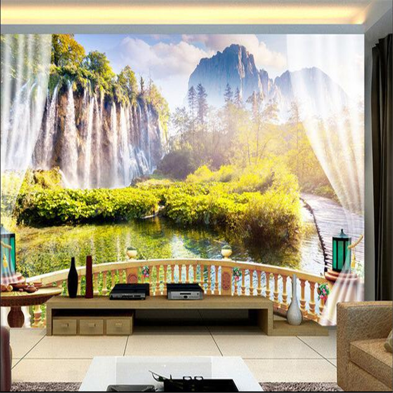 Beibehang Custom Mural Non Woven 3d Room Wallpaper The Waterfall Scenery Outside Window Photo Wall In Wallpapers From Home