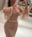2017 Arábia Saudita Champagne Sereia Vestidos de Noite com mangas Compridas sheer Pearls Sexy Longo Prom Dress Vestido De Festa