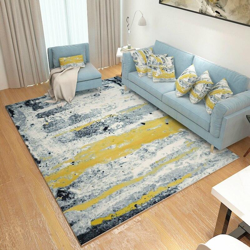 Tapis de peinture à l'encre abstraite pour salon tapis d'art moderne pour chambre étude/Restaurant tapis de sol tapis de Table basse souple