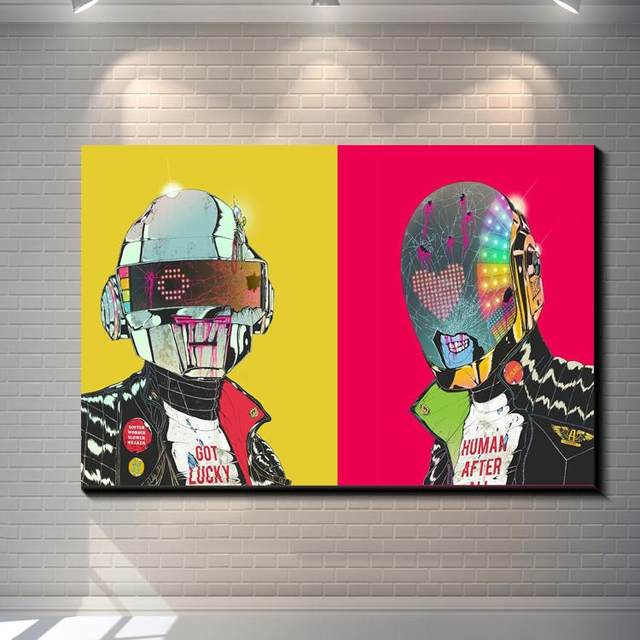 Online Shop Vintage Abstract Daft Punk painting picture canvas ...