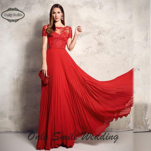 e633aca77 ZJ3316 Sexy piso de longitud gasa vestidos de gala de encaje rojo corto  mangas largas vestidos