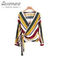 Blouse Women Cardigan Striped Summer Autumn Belt Open Shirt Fashion Blouses 2017 Blusas Office Female Shirts