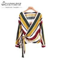 Blouse Women Cardigan Striped Summer Autumn Belt Open Shirt Fashion Blouses 2017 Blusas Office Female Shirts