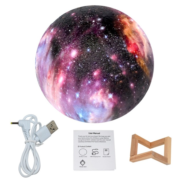 Dropship 15CM Moon Lamp 3D Print Star Galaxy Light Colorful Change Touch USB Charging Led Home Decoration Baby Night Lights Gift 5