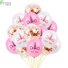 Unicorn Balloon Pink Gold Confetti Latex Air Party Decoration Kids Birthday Ballons Helium Favors
