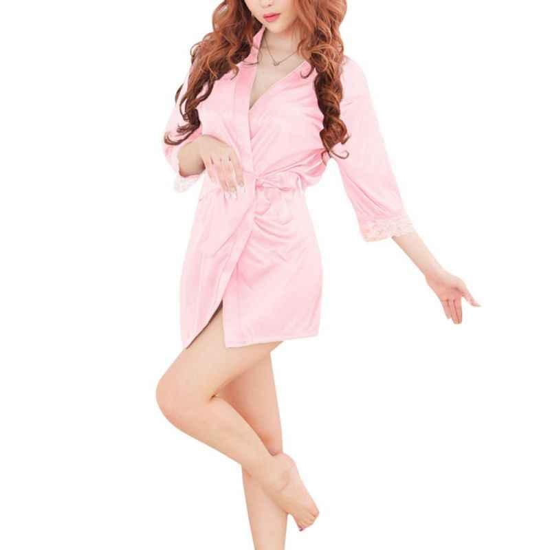 新ブランドローブ女性のセクシーなナイトウェアレーストリミング女性のバスローブラウンジ着物ローブカジュアル緩いホームファム W8