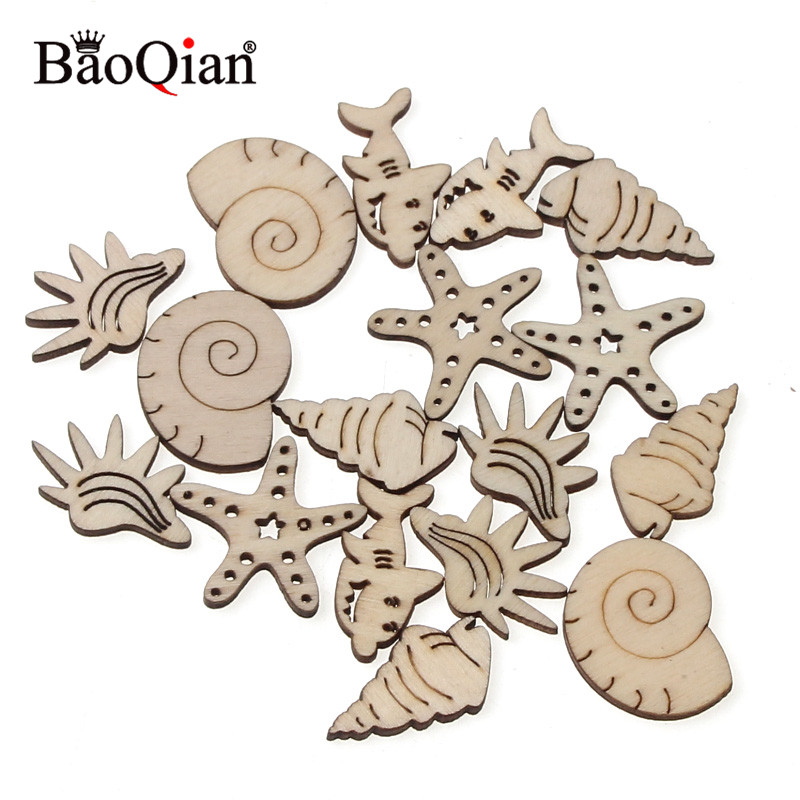 20Pcs Ocean Animal Pattern Natual Wooden Scrapbooking Art Collection DIY Craft For Handmade Accessory Sewing Home 25mm