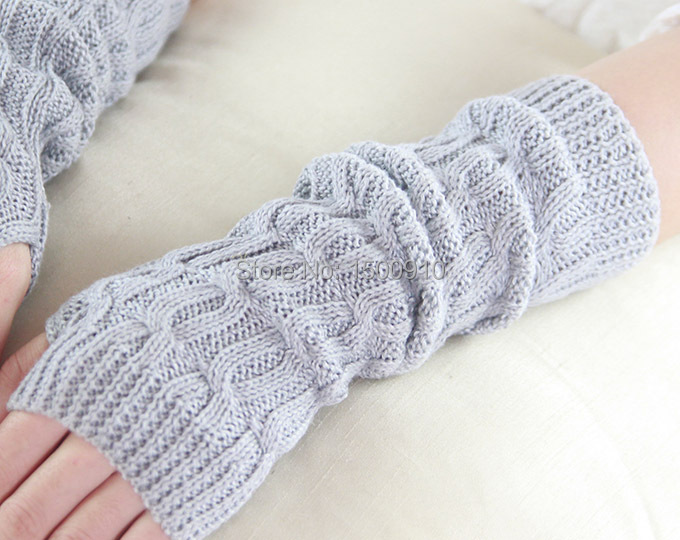 Hot Sale Gray Womens Fingerless Motorcycle Gloves Knit Pattern