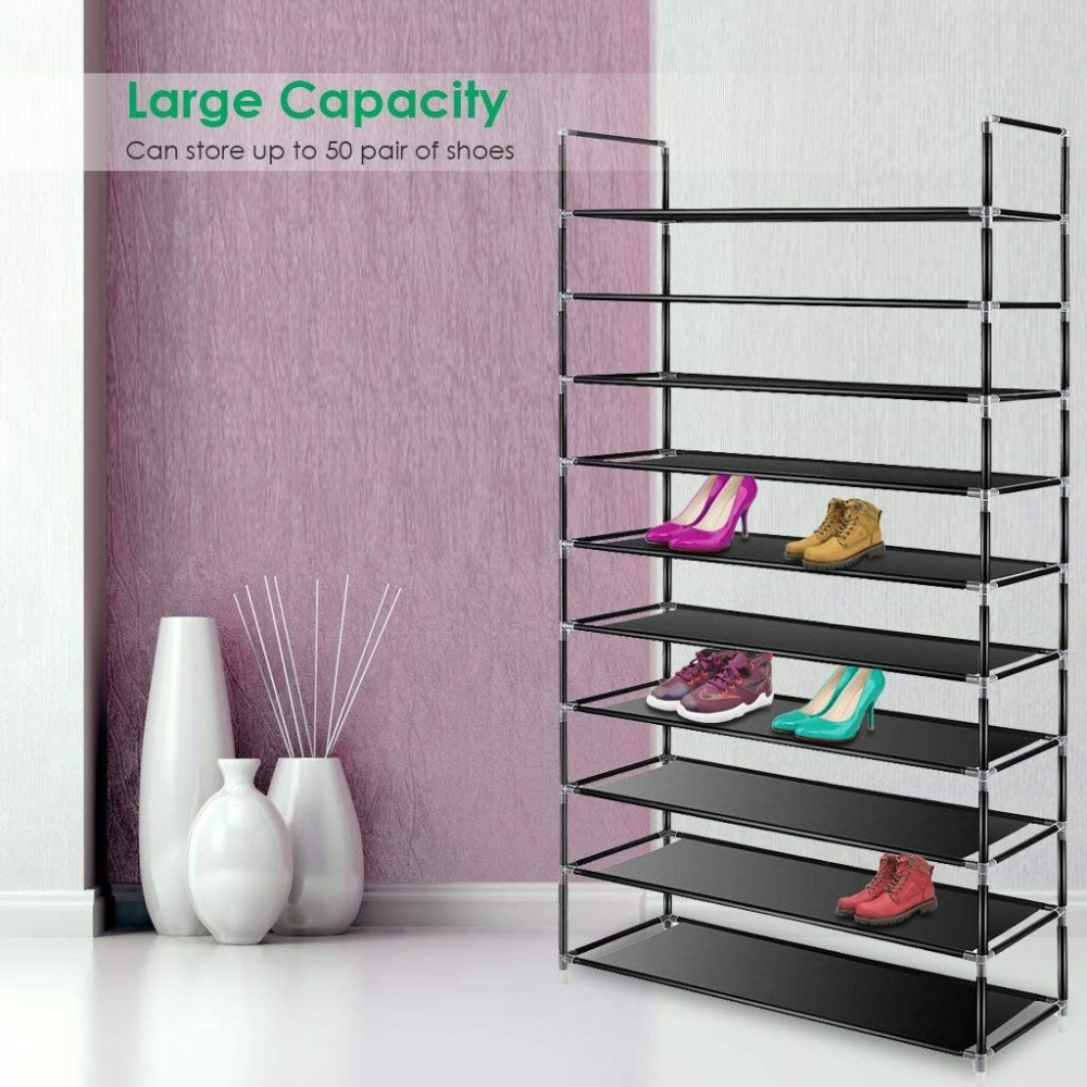 Image 5 - Large Capacity 10 Layers Shoe Rack Easy to Install Home 50 Pairs Shoe Organizer Space Saving Stand Holder Furniture for Door-in Shoe Cabinets from Furniture