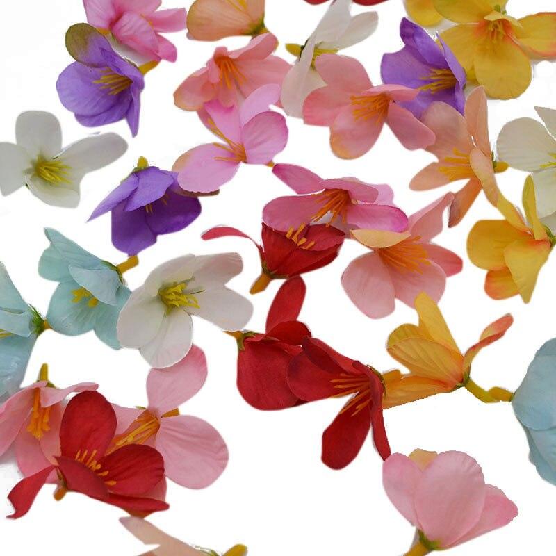 100pcs/bag DIY Crafts Silk Orchid Mini Artificial Flower Heads Petals For Home Decoration Wedding Supplies Festival Accessories