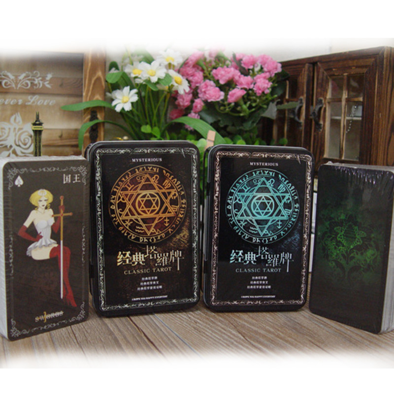 Classic Mysterious Tarot Board Game Cards Chinese/English Edition for Astrologer with Metal Box