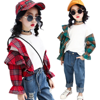 La camiseta del otoño del resorte mariposa manga Plaid Patchwork sudadera Hoodies de las muchachas para las muchachas niños ropa niños