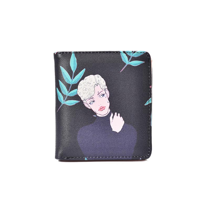 Korean Version Of The Lovely Purse Short Style New Personality Cartoon Students Doodle Two Fold Buckle Small Wallet