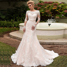 Hochzeitskleid Mermaid Wedding Dresses Long Sleeve Scalloped Neck Luxury Vestido de Casamento Lace Up Back Trouwjurken