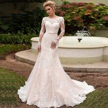 Hochzeitskleid マーメイドウェディングドレス長袖スカラップネック高級 vestido デ casamento レースアップバック trouwjurken