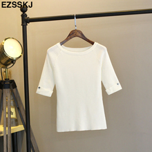 Summer T Shirt Women female Top Tee half Sleeve T-Shirt With Button slim elegant High Elastic Knitting big size T-shirt Femme