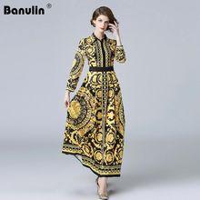 Banulin HIGH QUALITY 2018 Newest Fashion Runway Dress Womens Long Sleeve Crystal Retro Floral Elegant Printed Vintage Dresses