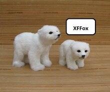 a pair of simulation white polar bear models polyethylene&furs dolls gift about 15cm, 20cm xf1935
