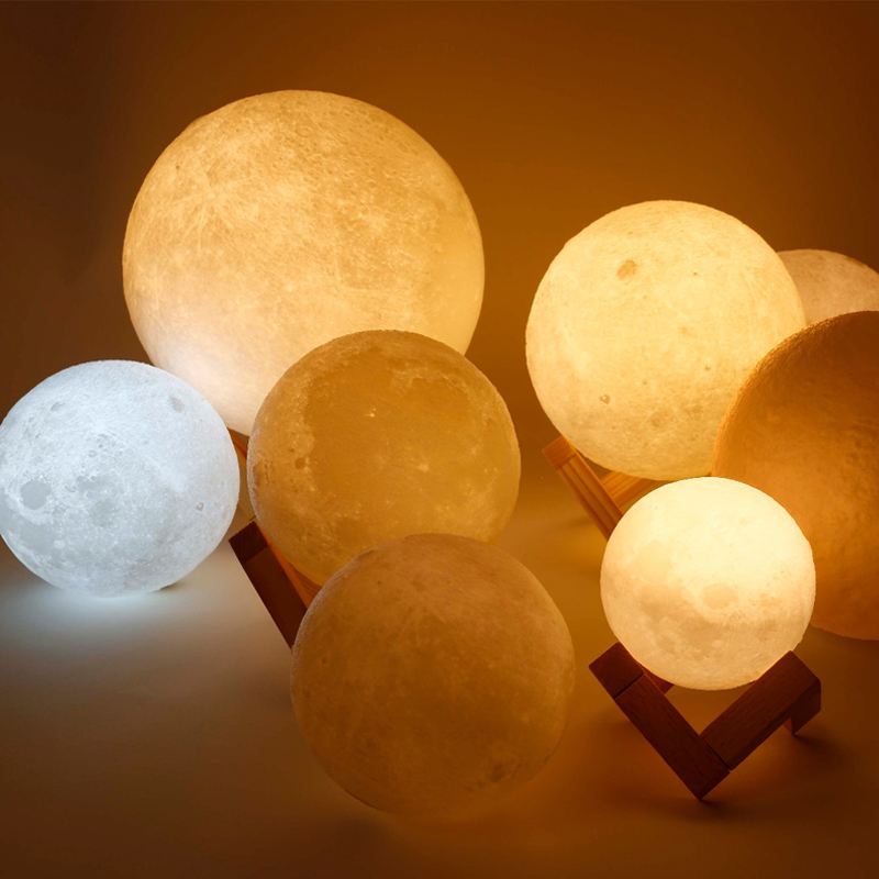 LITOM LED 3D Print Galaxy Moon Lamp 16 Colors Light Remote Control Creative Gift USB LED 3D Moon Night Light Lamp Home Decor