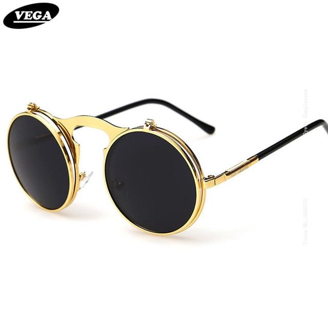 Vega Terbaik Flip Up Kacamata Hitam Pria Wanita Punk Kacamata Bulat  Steampunk Kaca Mata Lingkaran Kacamata fb2339e583