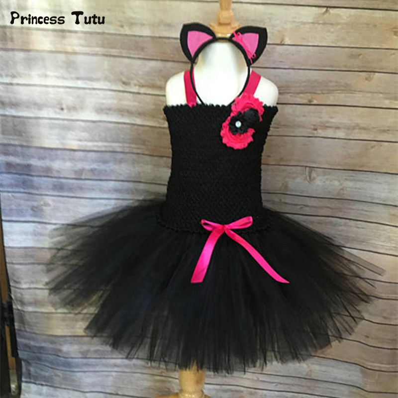 Black Girls Tutu Dress With Headband Tulle Girl Birthday Party Dress Carnival Cosplay Animal Cat Halloween Costume for Kids 1-14 1set baby girl polka dot headband romper tutu outfit party birthday costume 6 colors