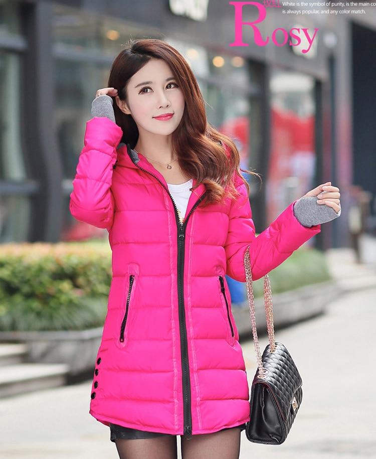 HTB1CLMpXrsTMeJjSszdq6AEupXae 2019 women winter hooded warm coat slim plus size candy color cotton padded basic jacket female medium-long  jaqueta feminina