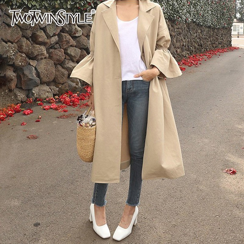 TWOTWINSTYLE Flare Sleeve Women Windbreaker Coat Casual Sweety Trench Coats Female Korean Clothes 2019 Autumn New