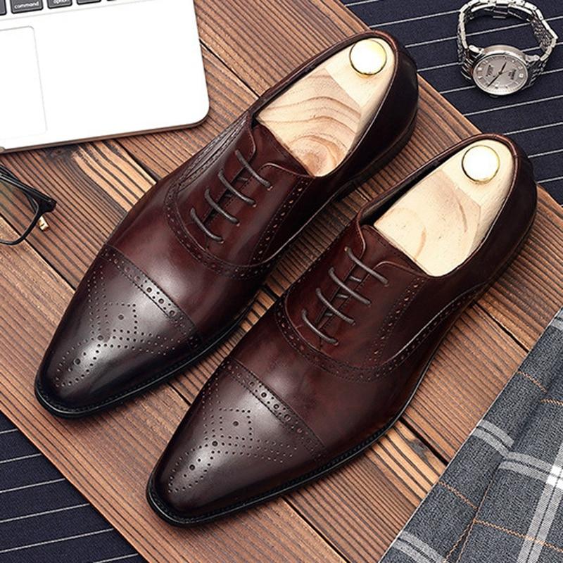 Luxury Handmade Man Formal Dress Wedding Shoes Genuine Leather Party Groom Oxfords Pointed Toe Men's Semi Brogue Flats DM148