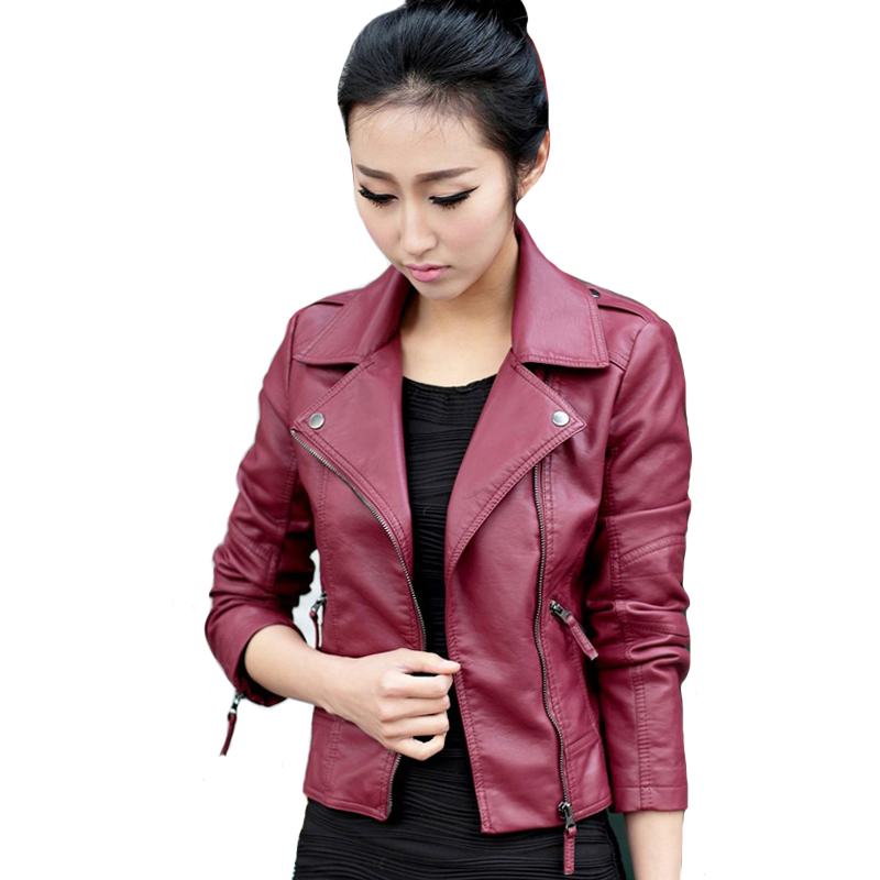 With Two Pockets Women   Leather   Jacket Black Wine Red Moto Biker Zipper   Leather   Jacket For Women Outwear Femlale Coat