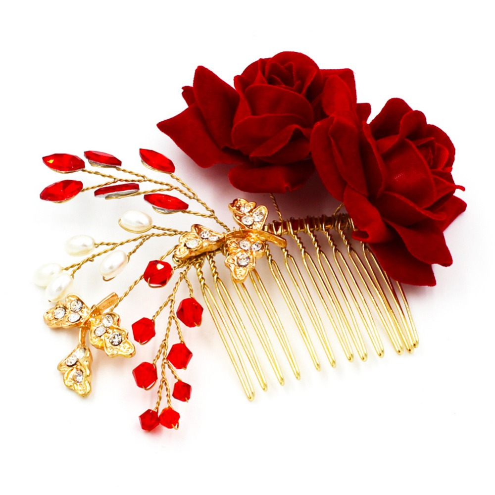 us $8.79 20% off|slbridal artificial rose flower red crystal pearls leaf golden wedding hair comb bridal hair accessories bridesmaids headpiece-in