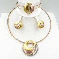 2018 New High Quality Fashion Dubai Jewelry Set Gold color Wedding African Beads Jewelry Sets necklace earrings bracelet ring