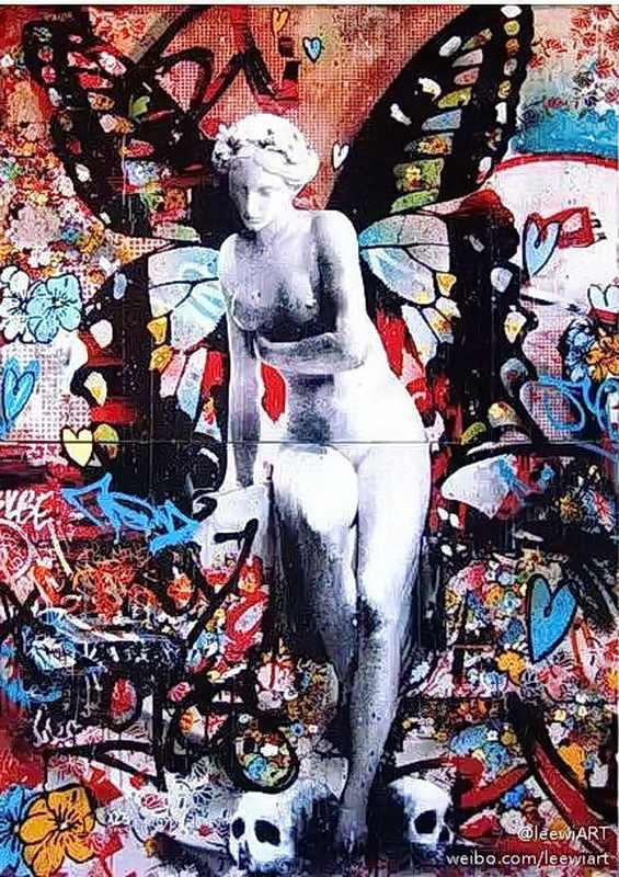 Verniciatura a spruzzo graffiti art nude statua con ala di farfalla su pittura a olio della tela di canapa per la decorazione di nozze e poster, galleria
