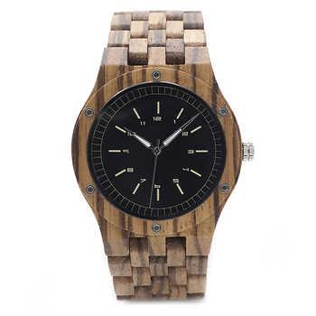 BOBO BIRD N12 Zebra Wood Watch Men Dress Unique Wristwatch With Japanese Movement Cutomized For Gift