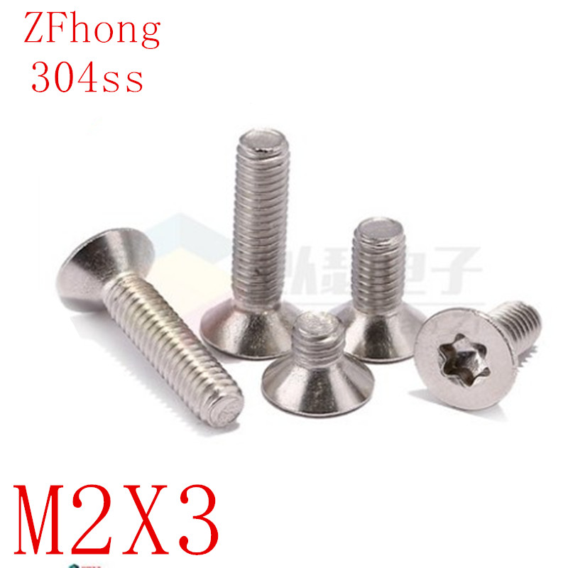 100PCS <font><b>M2x3</b></font> <font><b>M2</b></font>*3 Stainless steel countersunk head torx <font><b>screws</b></font> ISO14581 image