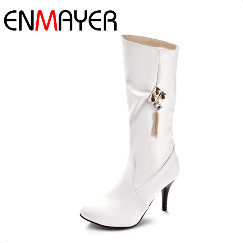 ФОТО ENMAYER White Shoes Woman Large Size 34-47 Mid-calf Boots for Women High Heels Round Toe Rhainstone Charms Winter Boots Platform