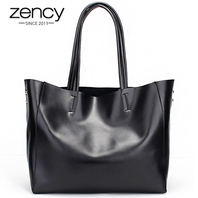 Zency Fashion Women Real Genuine Leather Casual Women Handbag Large Shoulder Bags Elegant Ladies Tote Satchel Purse Bolsa 2017 dikizfly soft genuine leather women handbags casual totes bag real leather brand work handbag purse elegant messenger bags bolsa