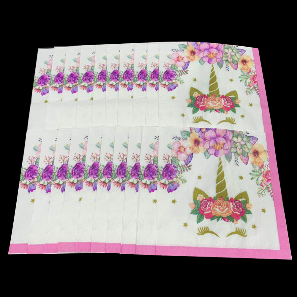 Unicorn Party Supplies Pink Rainbow Unicorn Banner Plate Napkin Party Supplies Set Birthday Party Decorations Paper Popcorn Box in Disposable Party Tableware from Home Garden