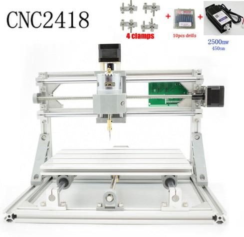 CNC 2418 + 2500 mw laser GRBL contrôle Diy laser gravure ER11 CNC machine, 3 Axes pcb fraiseuse, bois Routeur + 2.5 w laser
