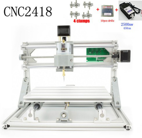 CNC 2418+2500mw laser GRBL control Diy  laser engraving ER CNC machine,3 Axis pcb Milling machine,Wood Router+2.5w laser