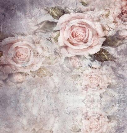 10x10ft Luce Rosa Antico Fiori Modello Grigio Muro Di Cemento