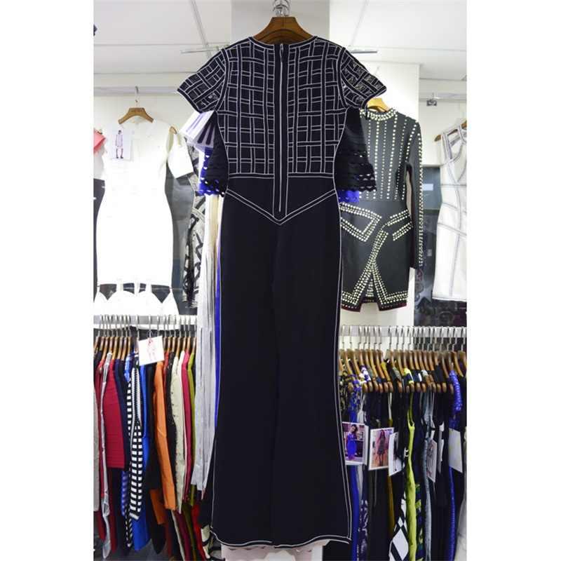 Neue Ankunft Mode Rundhals Kurzarm Mesh-Plaid Patchwork Frauen Verband Boot Cut Overalls Clubwear Großhandel Heißer Verkauf