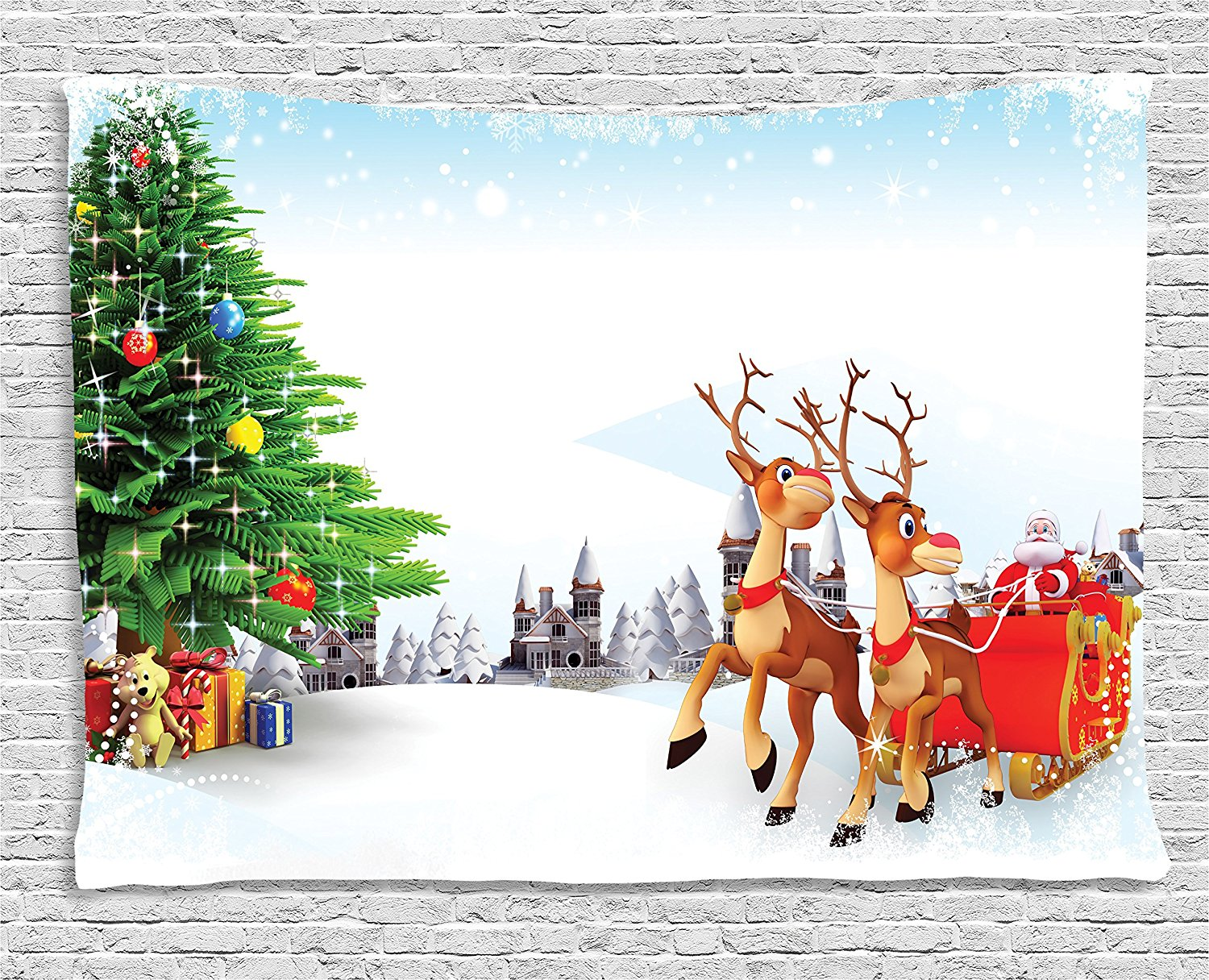Santa Tapestry Snow Covered Christmas Village with Cartoon Santa on His Sleigh Big Tree and Boxes, Wall Hanging