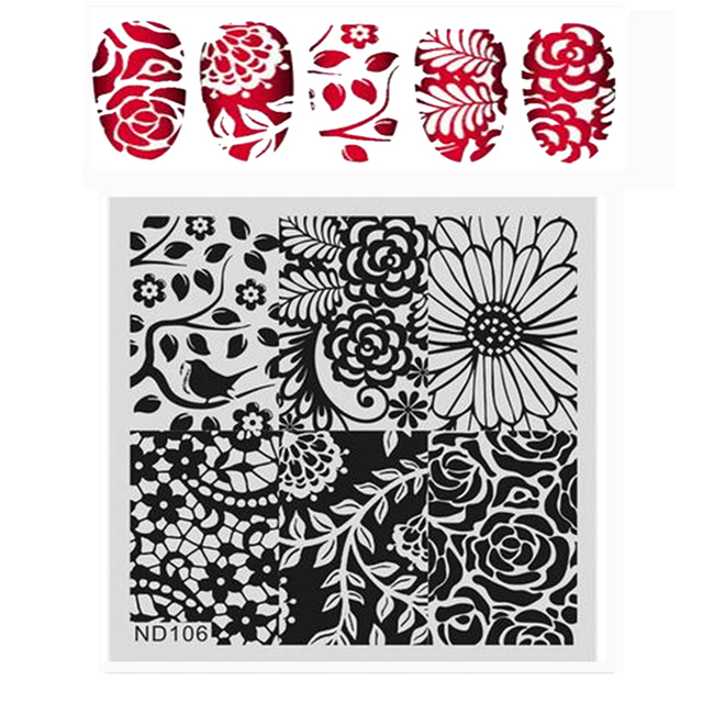 NICOLE DIARY Nail Art Stamping Image Plates Floral Patterns High Quality DIY Stainless Steel Stamping Template 26247