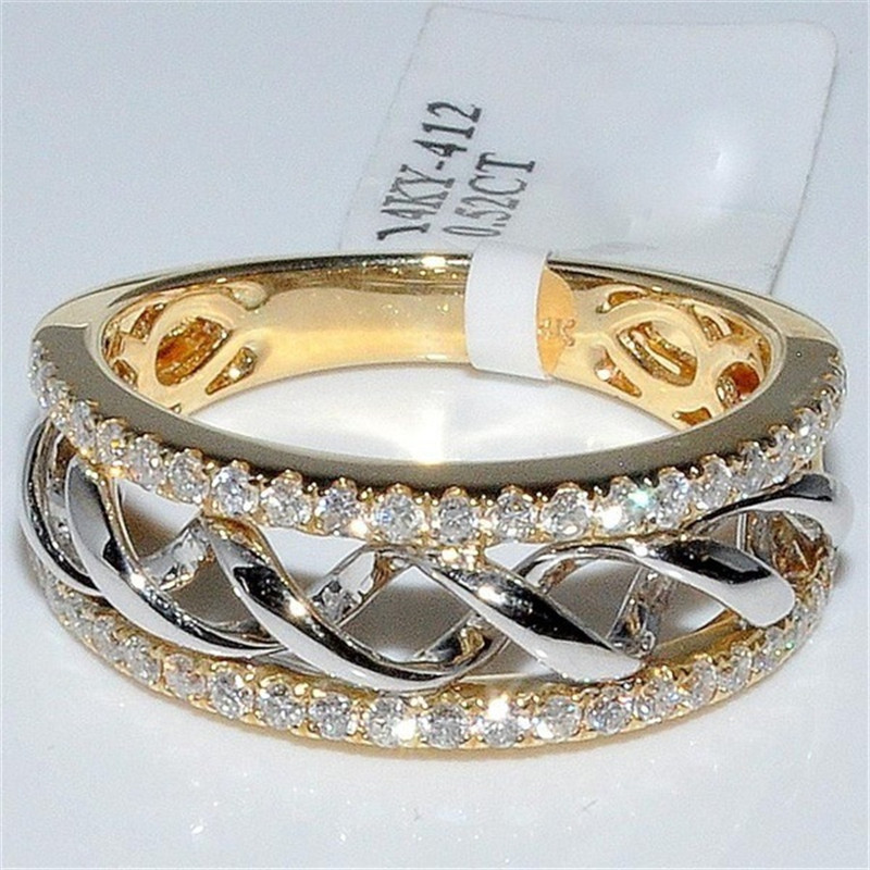 FFLACEL Hollow Two-tone Color Ring Silver Wave Cubic Zircon Ring For Female Fashion Popular Rhinestone Wedding Rings For Women