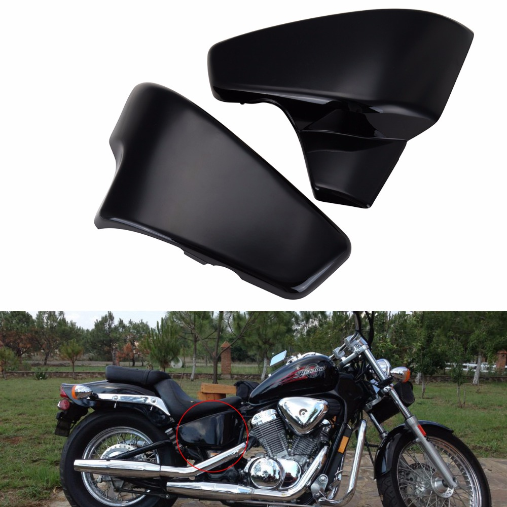 Motorcycle Left & Right Side Battery Cover For Honda VLX 600 1999-2008 VT 600 C CD Shadow VLX Deluxe 1999-2007 2004 2005 2006 chrome switch housing cover for honda shadow 600 vt 750 1300 vtx vt1300c vlx ace